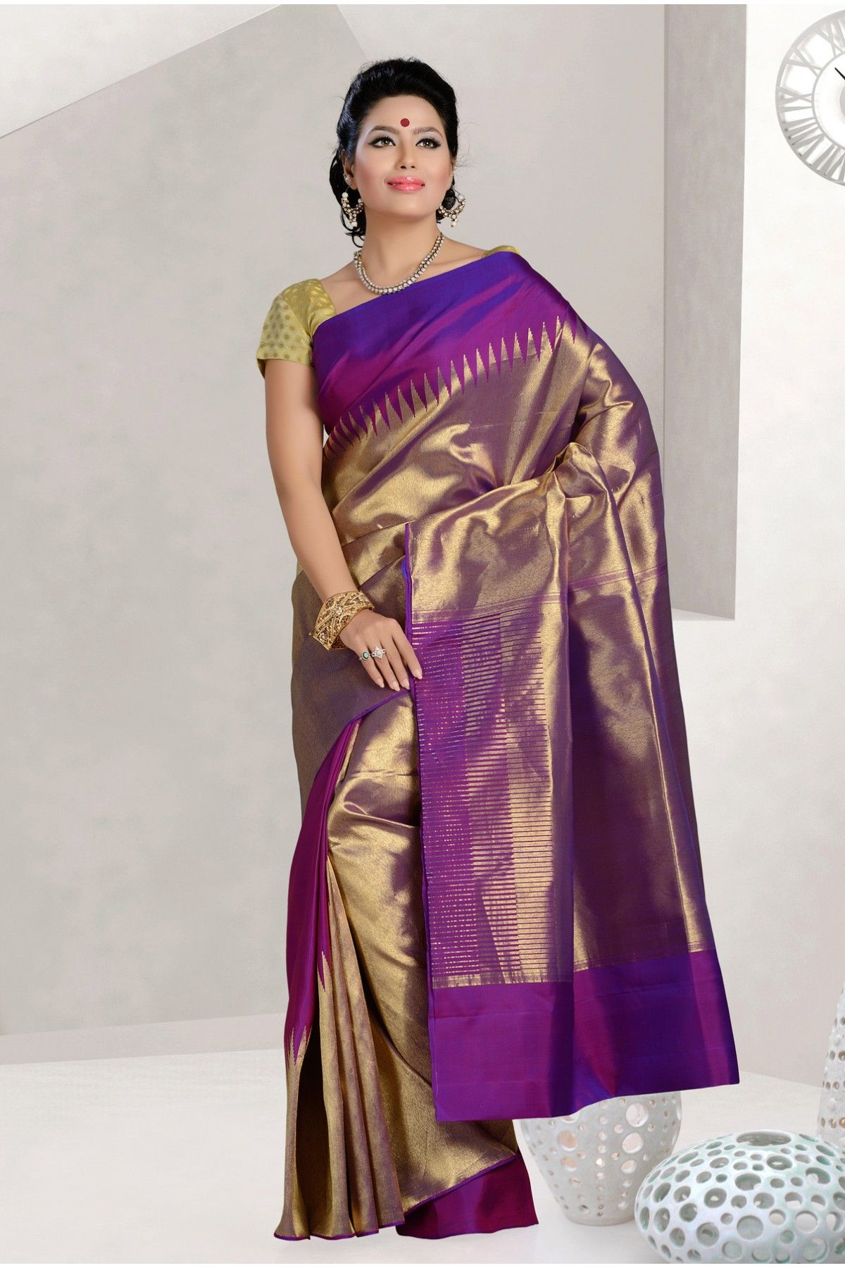 de48507d3 Pure silk purple fashionable saree with gold border -SR10329 - Pure  Kanchipuram Tested Zari -