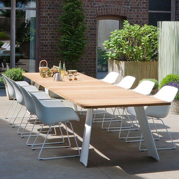 Table Pontsun Structure En Bois Iroko & Pieds En Acier Laqué Blanc ...