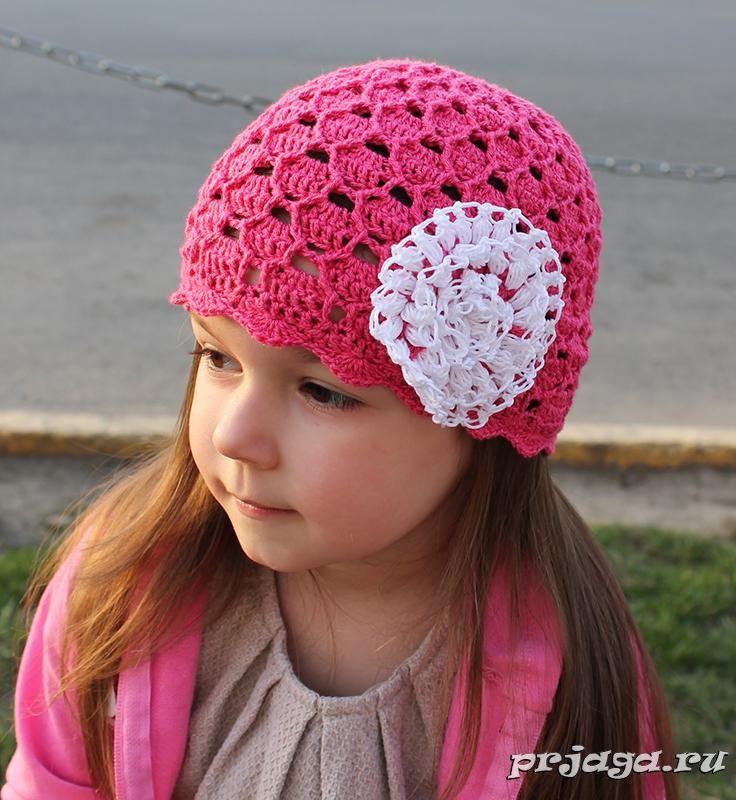 Летняя шапочка крючком для девочки--- klikni je tam schéma čiapky ...