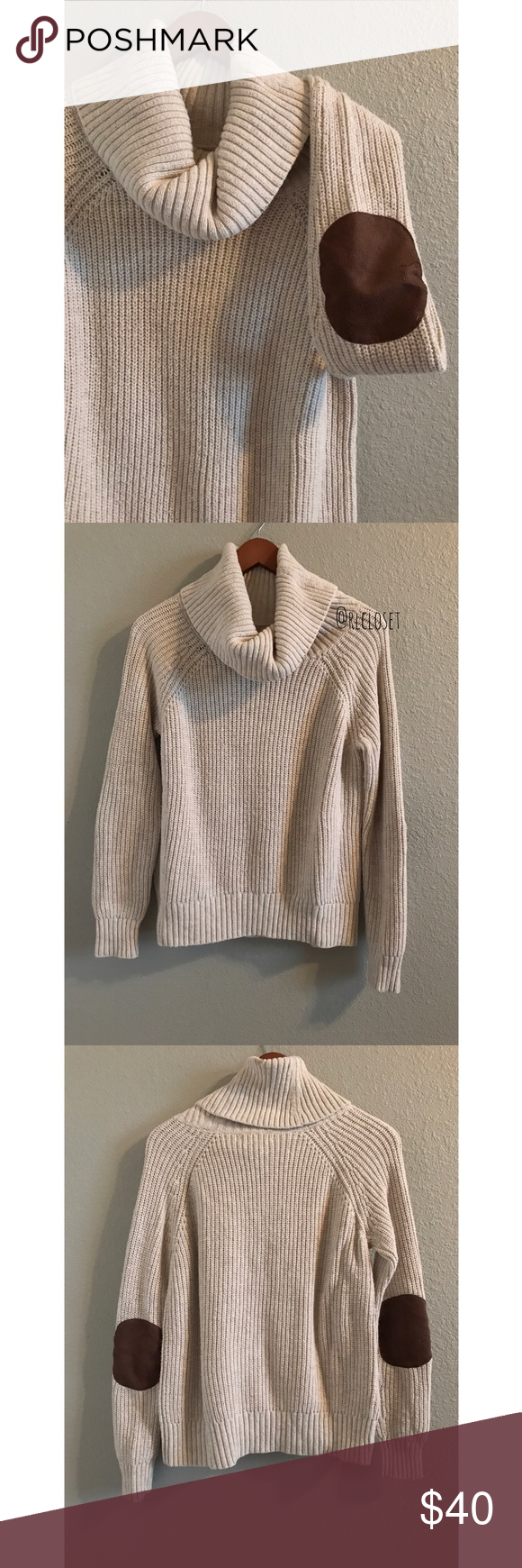 Banana Republic Cowl Neck Sweater with Elbow Patch ▫️Size:XS ...