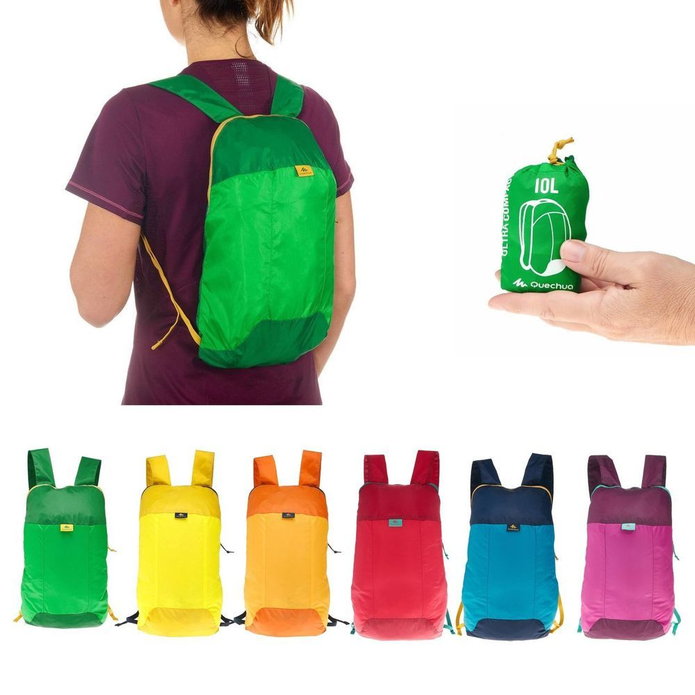 def60b637b Quechua Arpenaz 10L Ultra-Compact Foldable Ultralight Mini Backpack Rucksack   Quechua