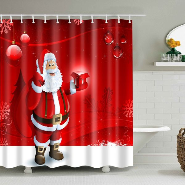 Christmas Santa Printed Bath Waterproof Shower Curtain Christmas