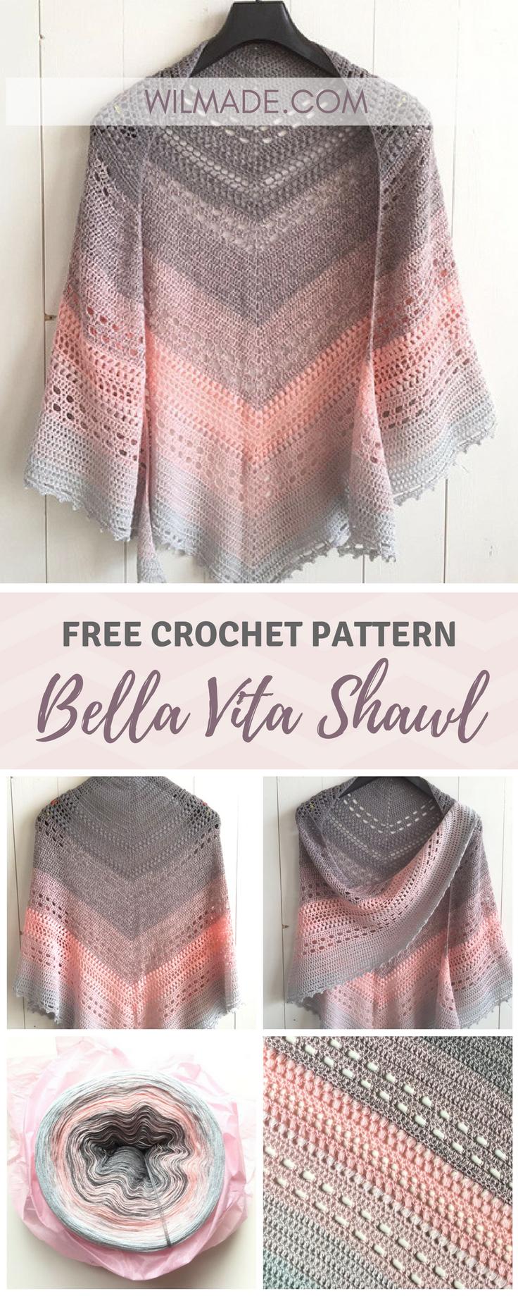 Bella Vita Shawl - free crochet pattern   patrones   Pinterest ...