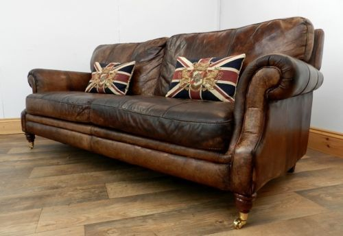 Victorian Style Hand Dyed Cigar Brown Antique Leather Chesterfield