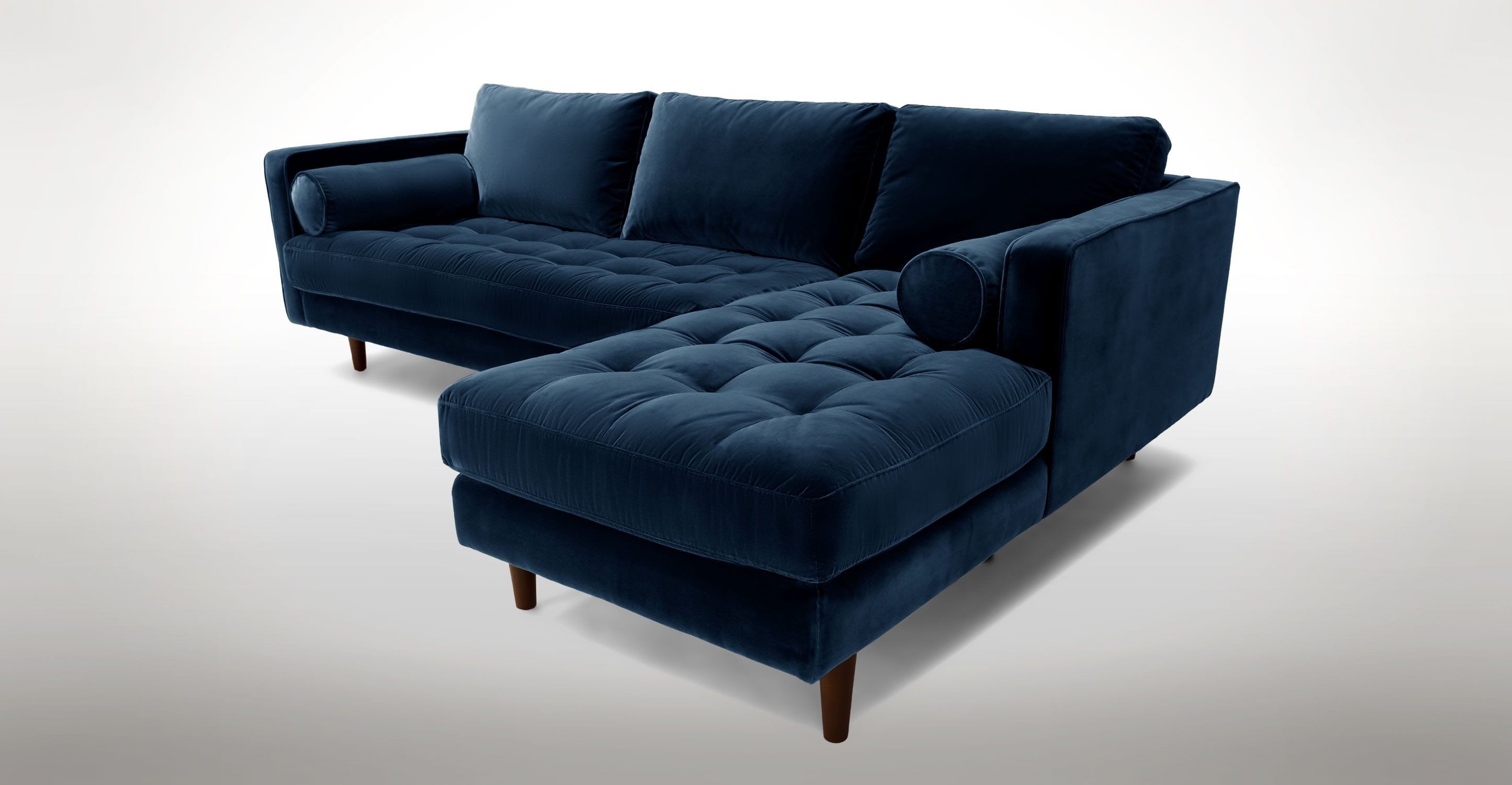 Dark Blue Velvet Right Sectional Tufted