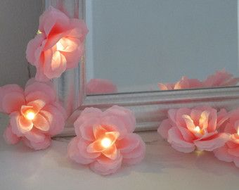 Pink peach and white rose fairy lights shabby chic fairy lights items similar to rose fairy lights in light blue pink and off white flower string lights rose lights string garland on etsy mightylinksfo Image collections