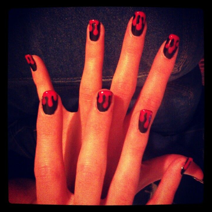 Blood drip nails. My own photo & free hand painted :) # ...