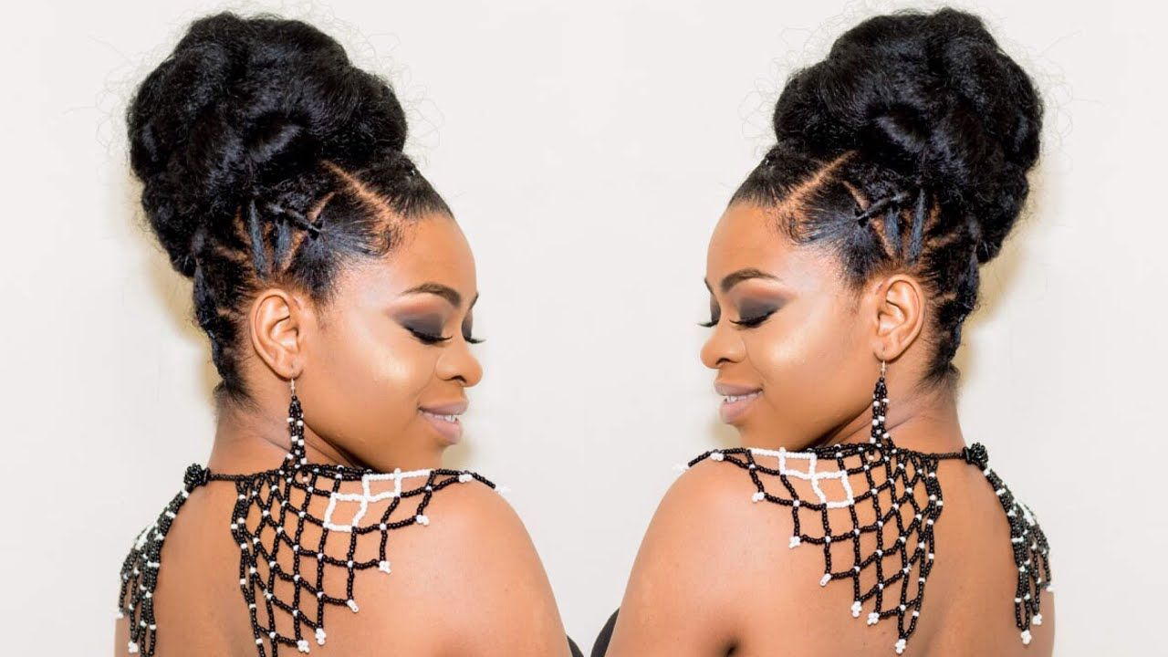 Elegant Rubber Band Updo Bun Quick Easy Protective Style Natural Hair Styles Natural Hair Bun Styles Natural Hair Tutorials