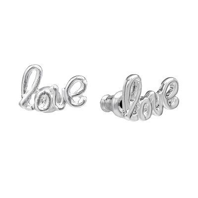 "Kohls Jewelry Box Brilliant Kohl's Lc Lauren Conrad Silver Tone ""love"" Stud Earrings Sale $900"