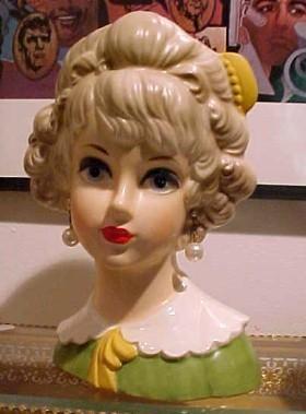 Lark Lady Head Vase Blond with Barrette