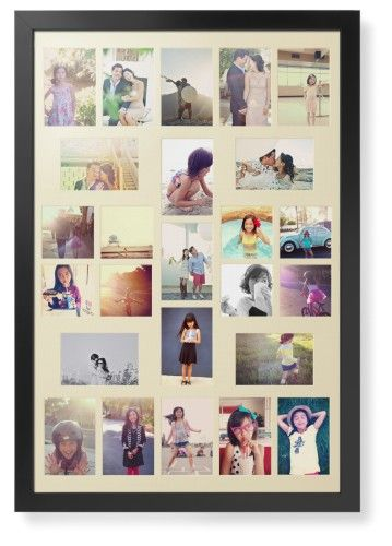 High Count Montage Portrait Deluxe Mat Framed Print, Black, Contemporary, Cream, Single piece, 24 x 36 inches