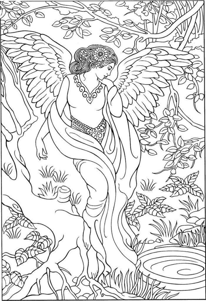 Engel Malbücher für Erwachsene Engel im Wald Malvorlagen ...
