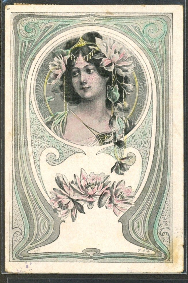 Art Nouveau Signed Mjs Beautiful Lady Head Ornaments Jewelry Ebay
