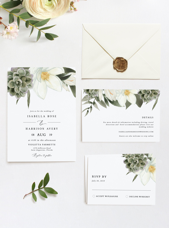 CARA Magnolia Wedding Invitation Template Suite Succulent  Etsy