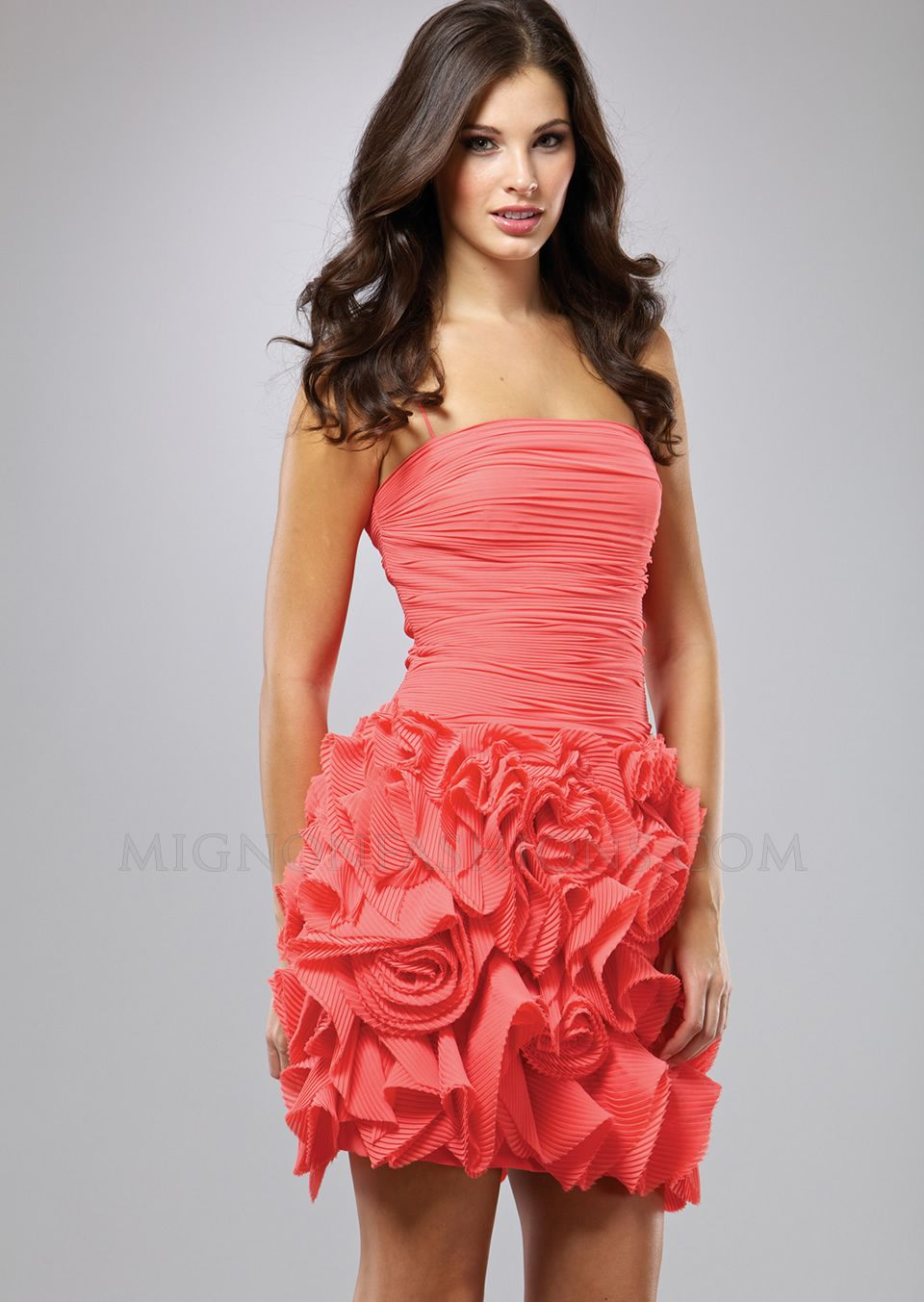 Short cocktail dress with square neckline pleated bodice pleated