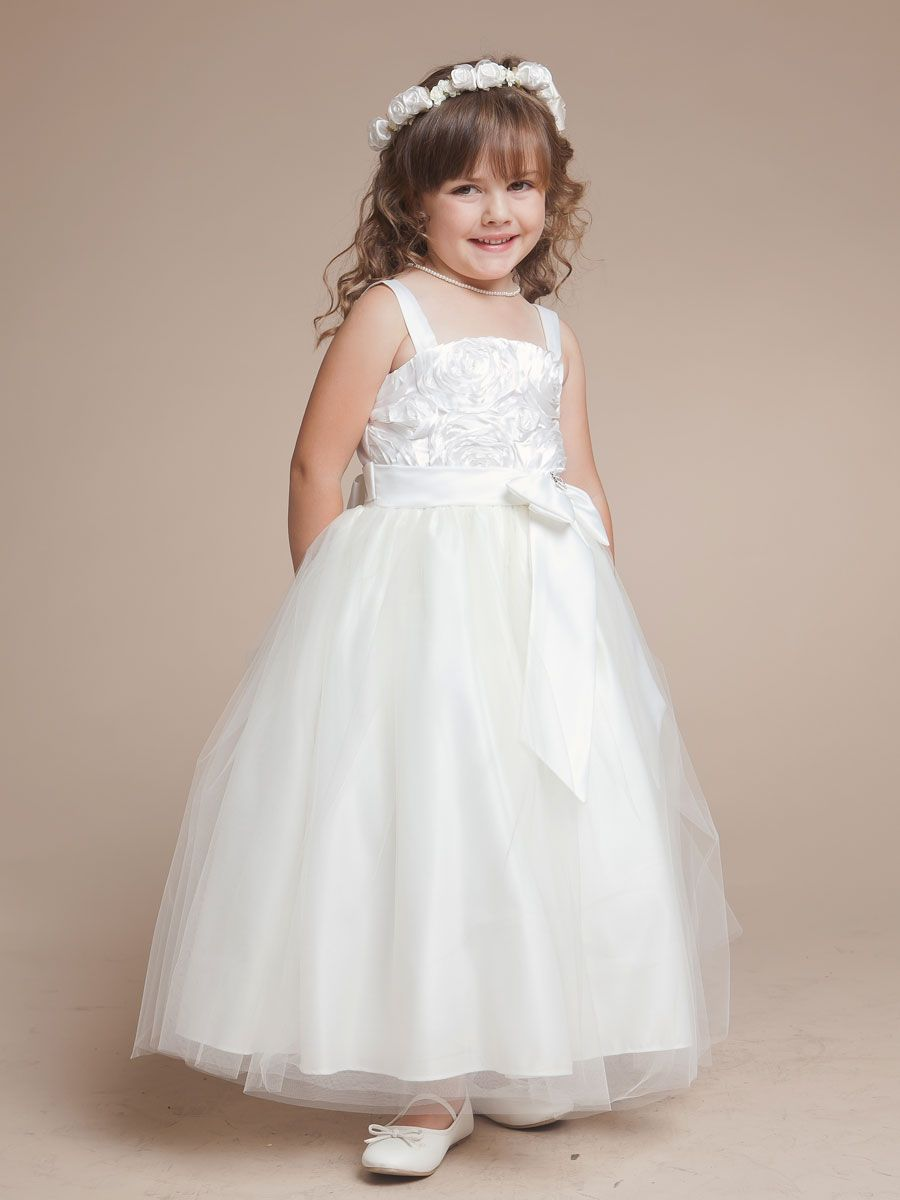 Princess satin and tulle flower girl dress with rosette accented