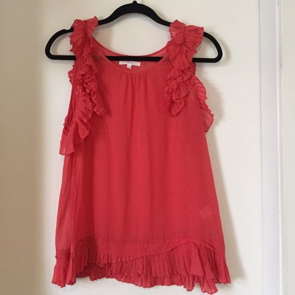 Madewell Silk Sleeveless Ruffle Blouse Coral silk blouse with ruffle accents. Worn a few times, in very good condition. Madewell Tops Blouses