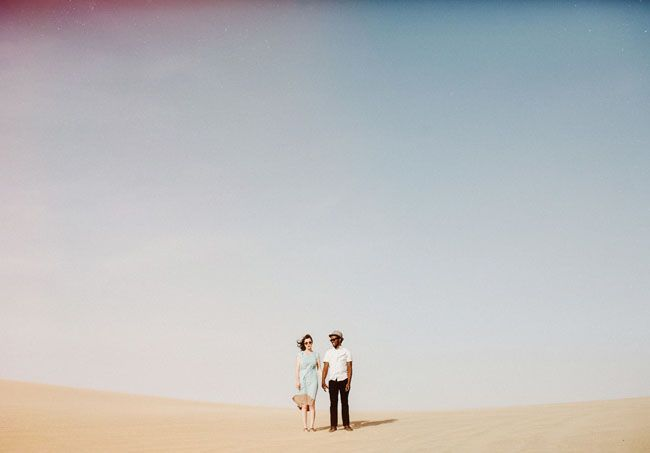 Photographer did such an amazing job with the lighting here! Desert Engagement Photos: Alexandra + Odwa