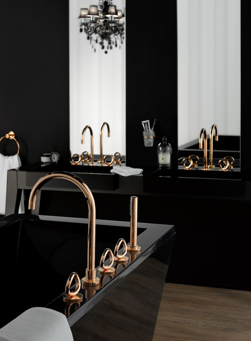 Elegant Black Bathroom Design Ideas That Will Inspire You - Black and gold bathroom decor for small bathroom ideas