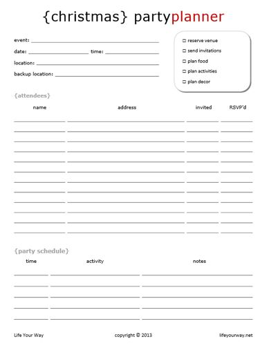 Christmas Planner Party planners, Planning calendar and Menu - party planning templates