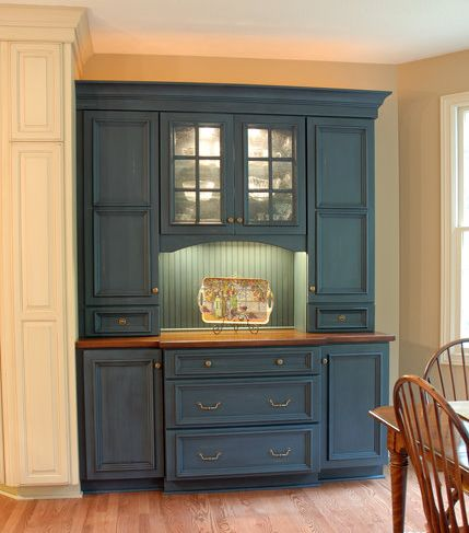 a matching blue stained hutch to match a newly remodeled