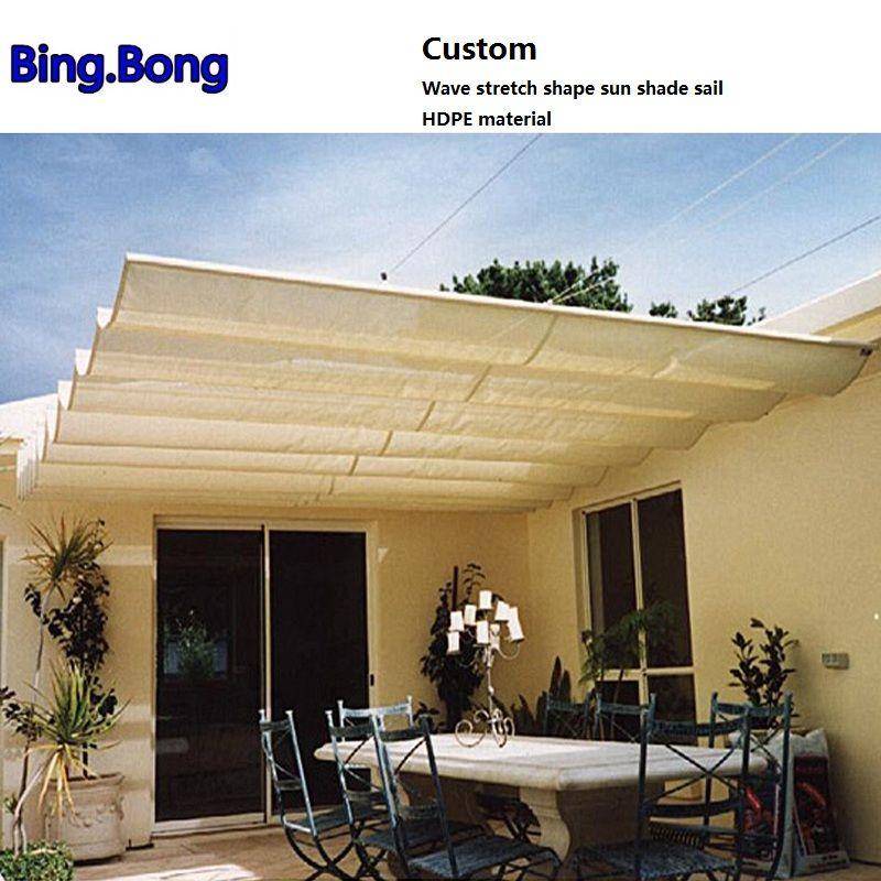 Custom Wave Stretch Shape Sun Shade Sail Hdpe Material Shading