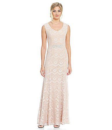 Alex Evenings Long Cap Sleeve Embellished Waist Dress #Dillards ...