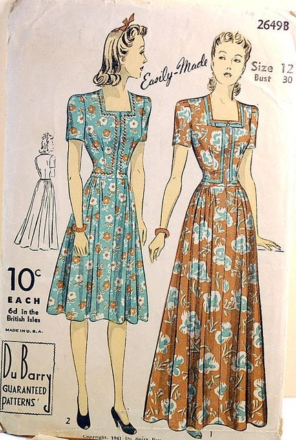 Vitnage 1940s Sewing Pattern Zipper Front Dress Vintage Clothes Patterns Pattern Fashion Vintage Outfits