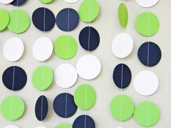 Lime green navy blue and white paper garland nautical for Lime green home decorations
