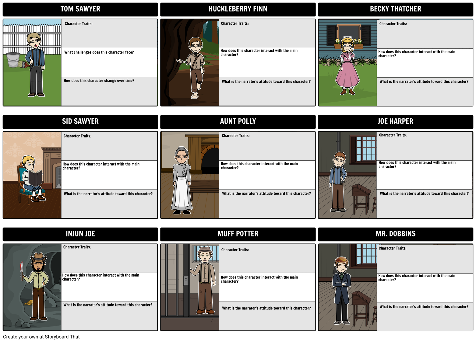 The Adventures Of Tom Sawyer Characters As Students Read A