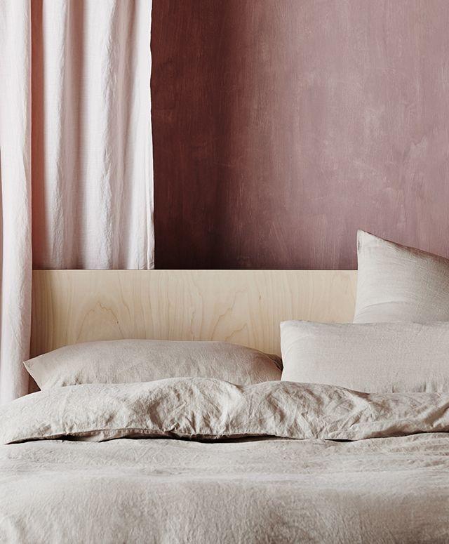 Cultiver Presents Nude / linen sheet set / linen duvet set / nude bedsheets / plywood headboard / blush interior