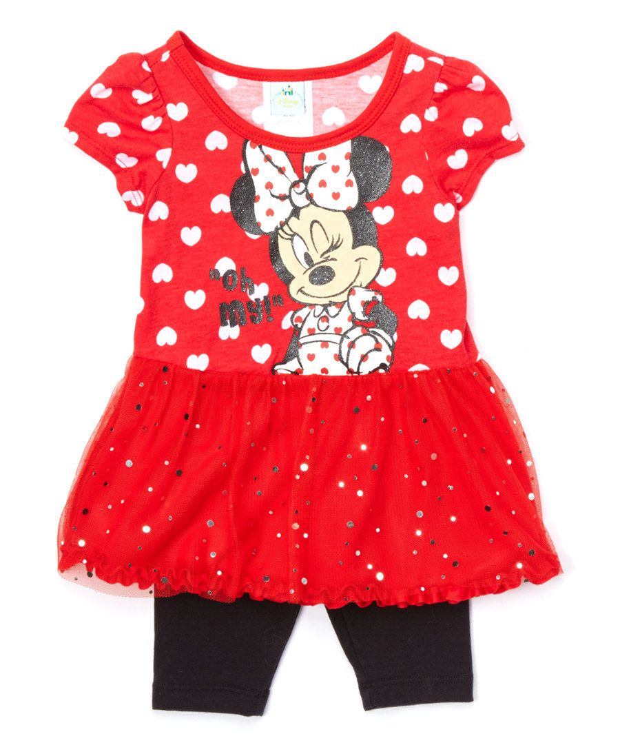 Look at this red minnie mouse dress u leggings girls on zulily
