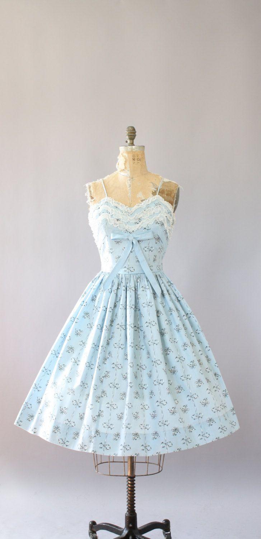 Vintage 50s Dress/ 1950s Cotton Dress/ Kay Whitney Light Blue Bow ...