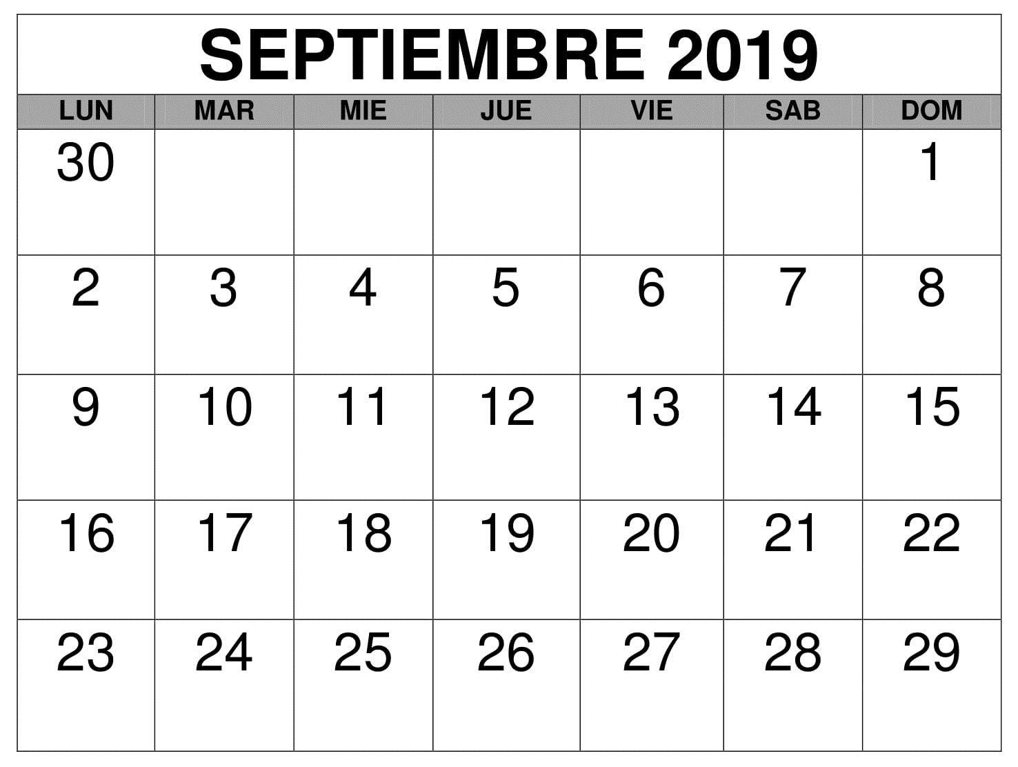 Septiembre Calendario Mes 2019   Monthly calendar template, Calendar  printables, Monthly calendar printable