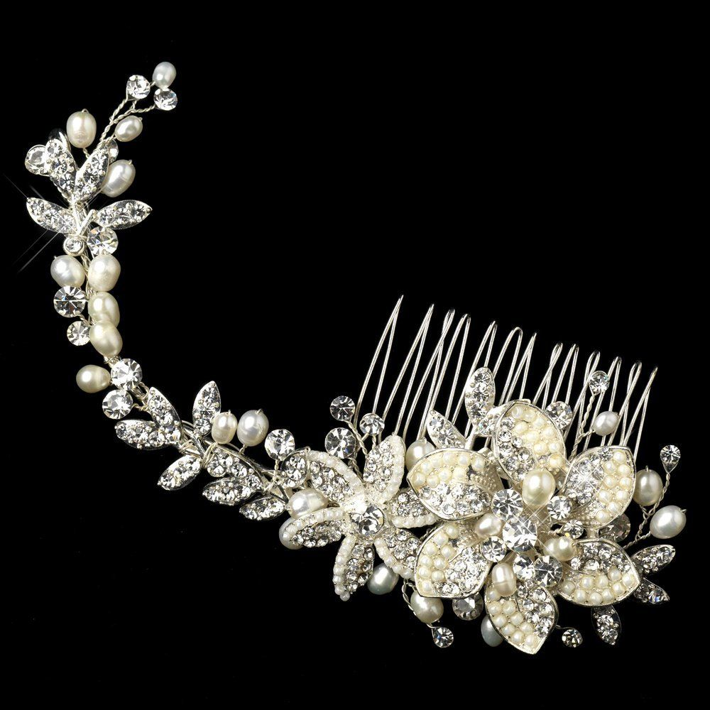alina silver freshwater pearl rhinestone floral vine hair comb