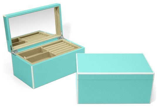 Lacquer Jewelry Box Turquoise contemporaryjewelryboxesand