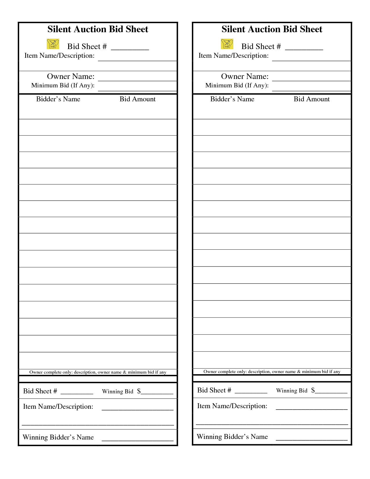 Silent auction bid sheet google search are we there for Silent auction program template