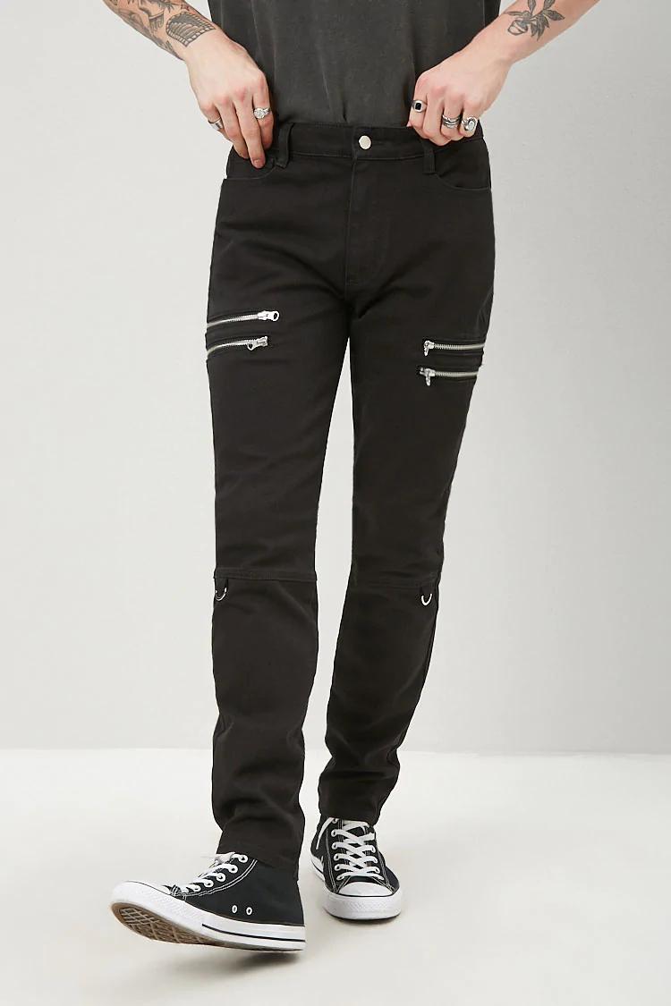 Skinny Zipper D Ring Pants Forever 21 Black Jeans Men White Shirt Black Pants Black Jeans [ 1125 x 750 Pixel ]