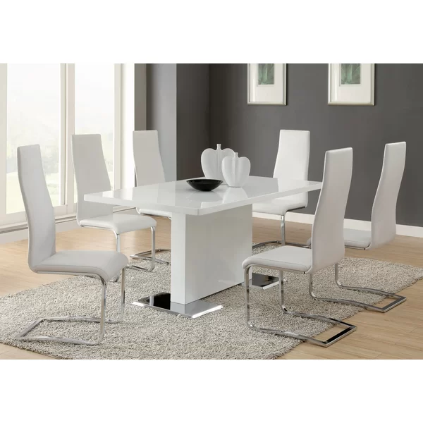 Anza 7 Piece Dining Set In 2020 White Dining Room White Dining Room Sets High Back Dining Chairs