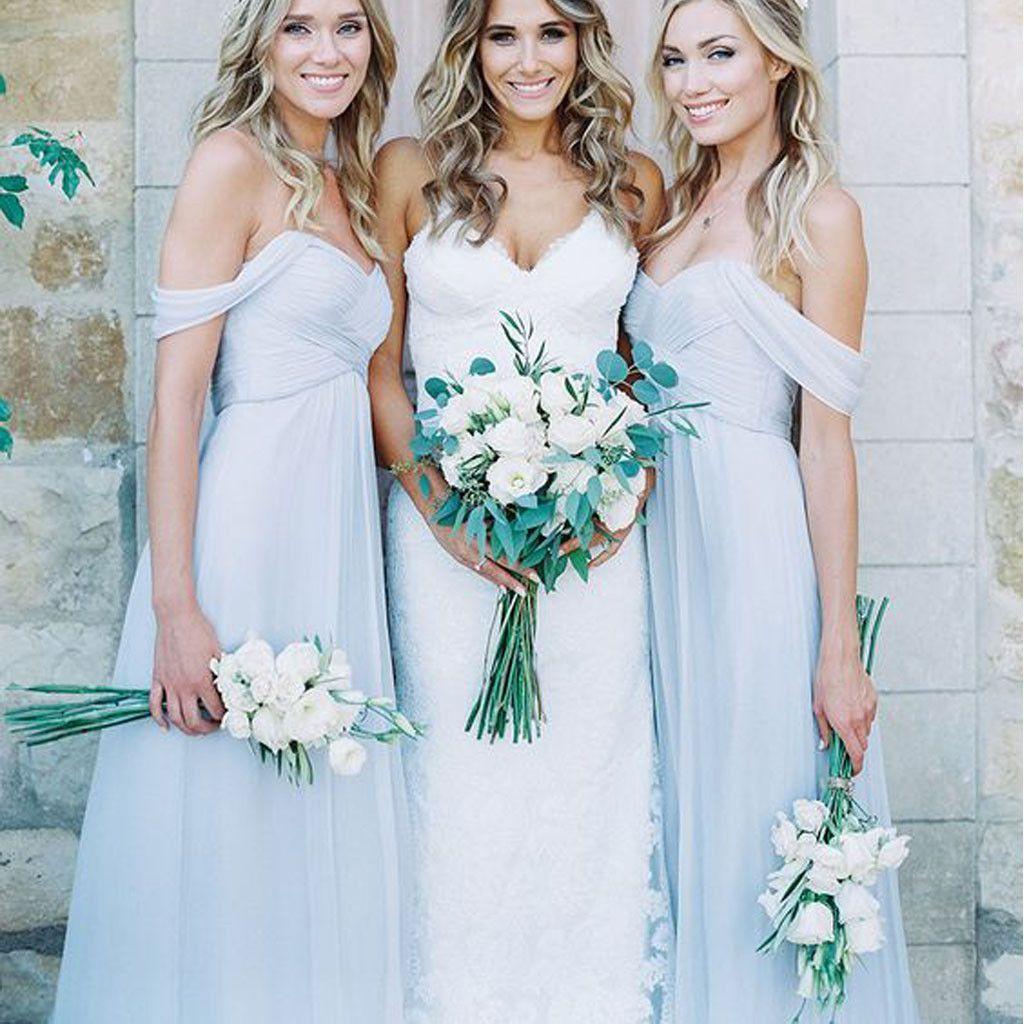 Light blue wedding decoration ideas  Mismatched Different Styles Chiffon Light Blue Sexy A Line Floor