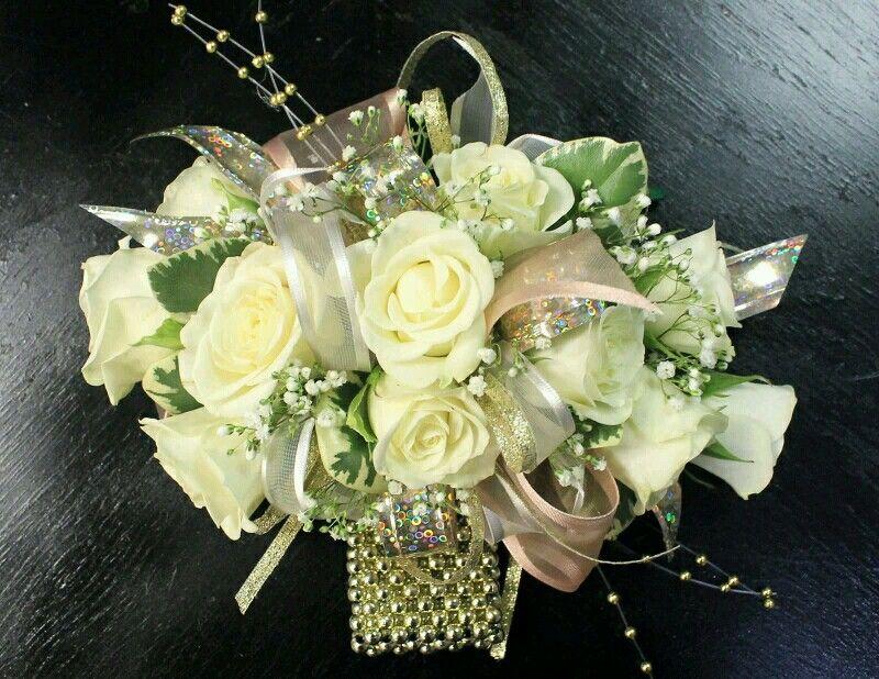 Elegant Champagne And Gold Prom Corsage Promflowersrowlett 2florists
