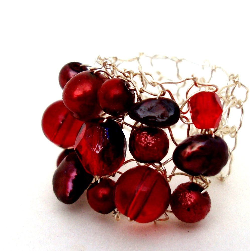 Red Cocktail Ring Big Pearl Statement Jewelry Fall by lapisbeach