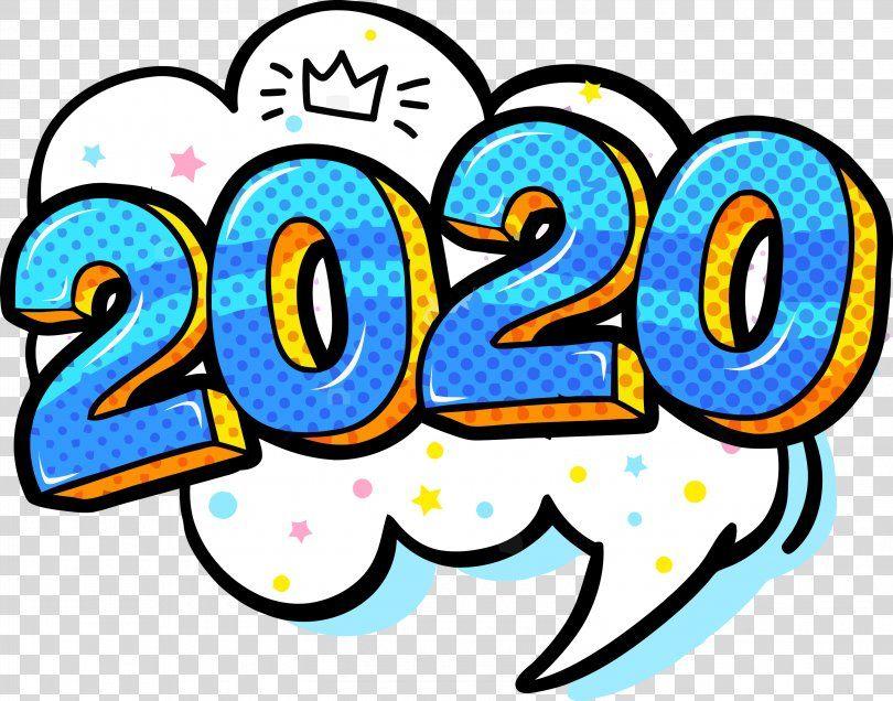 Happy New Year 2020 New Years 2020 2020, Line Art Sticker