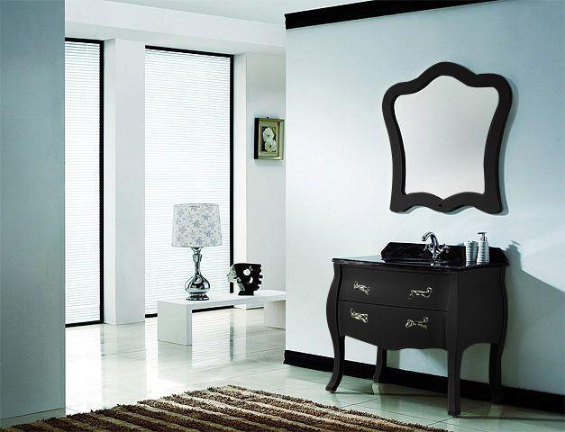 Meuble salle de bain design baroque bois massif PUY DE DOME noir ...
