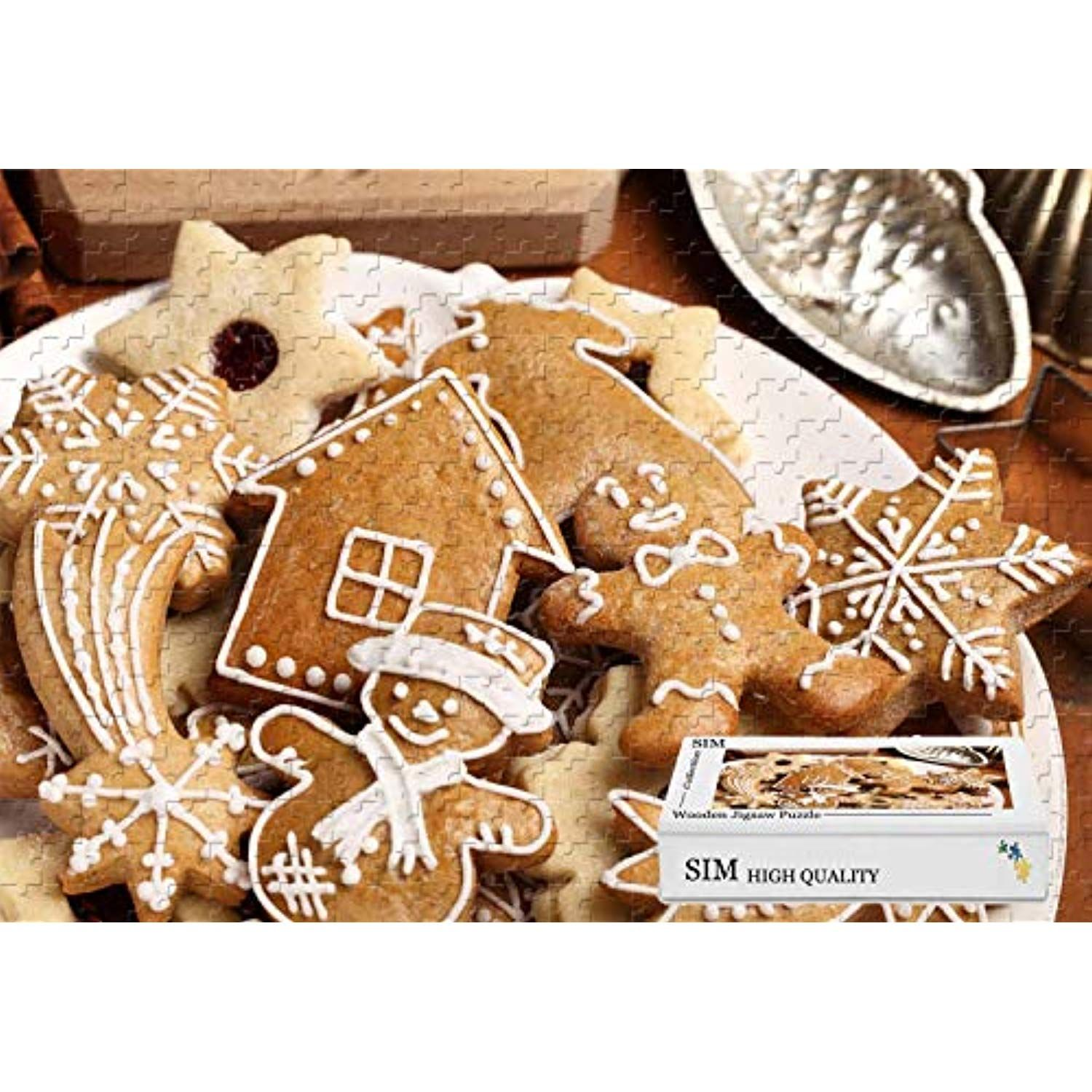 Premium Basswood Puzzle Games Christmas Food Cookies,20