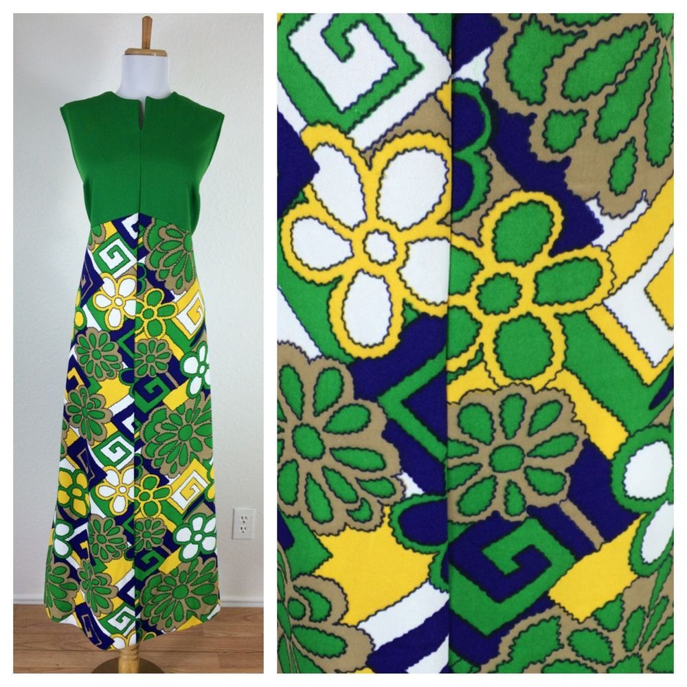 Vintage s maxi dress bold beautiful hippie disco floral green