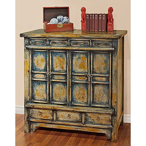 China Furniture Online Elmwood Cabinet Vintage Hand Crafted Qing Style Distressed Blue And Yellow