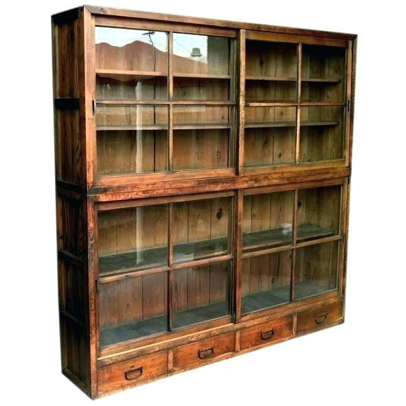 Asian Antique Bookcase With Glass Doors Glass Cabinet Doors