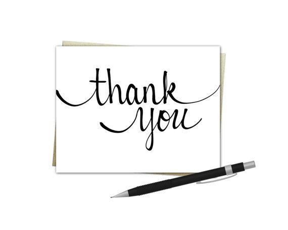 elegant script thank you card  thank you cards cards