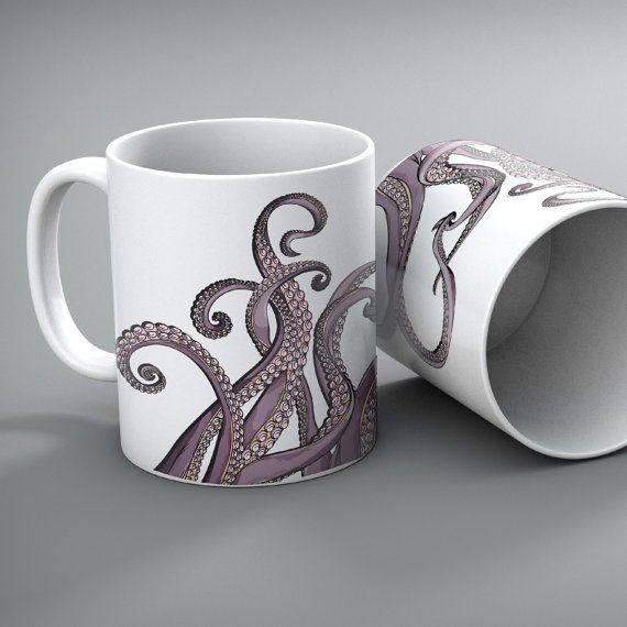 Set of 2  Purple Tentacle Octopus Mugs by InkandRags on Etsy